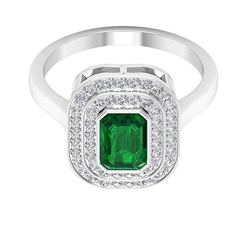 Anillo de oro esmeralda con forma octogonal de 1 ct, 0,4 ct SGL certificado de diamante doble halo, solitario, anillo de compromiso para mujer, 14K Oro