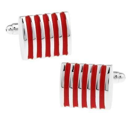 Boutons de manchette Red Stripes in steel