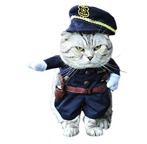 DELEY Pet Cane Gatto di Halloween di Natale Cosplay Party Fancy Dress Costume Uniforme Vestiti Poliziotto M