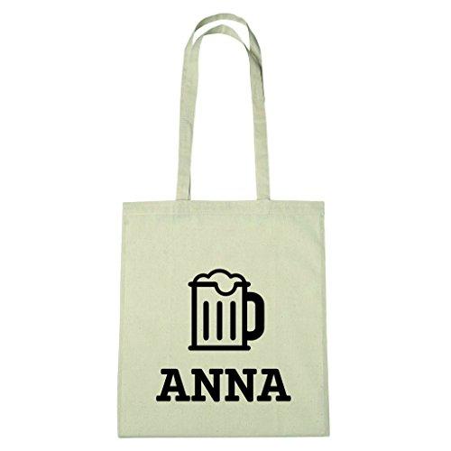 JOllify Baumwolltasche - Happy Birthday für ANNA - Bier Gruß