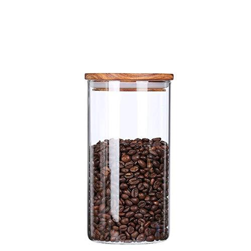 KKC Kaffeedose Glas Luftdicht - Glasbehälter für Kaffeebohnen - kaffeebohnen behälter - Kaffee Aufbewahrung Glas mit Holzdeckel - Kaffee Vorratsdose 1150 ML