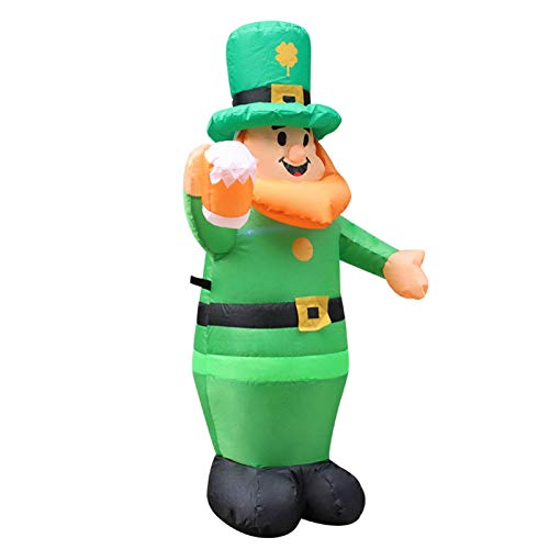 XIANLIAN 3.5Ft St Patricks Day Inflatables Blow Up Leprechaun,Irish Party Inflatable Model,built-in LED Lights Stable Sandbags,air Blower,reuseble Lawn Decor(1pc)