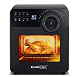 Air Fryer Oven Geek Chef Electric Air Fry Oven Toaster Oven Convection Smart Oven,Toast,Bake,Broil,Pizza,Bagel,Dehydrate,Roast, Countertop Rotisserie Multi-Function 16-in-1 Preset Modes Recipe 15Qt 8 Accessories Black Reheat 1700W