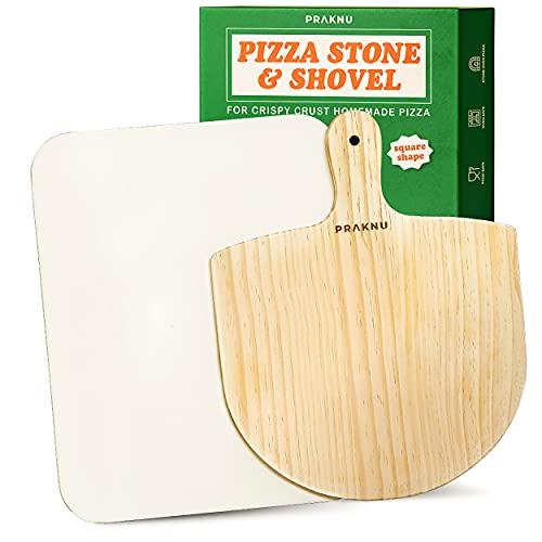 Kit de Piedra para Pizza Rectangular y Pala de Madera - Piedra Refractaria de 38 x 30 cm - Para Bases de Pizza Crujientes