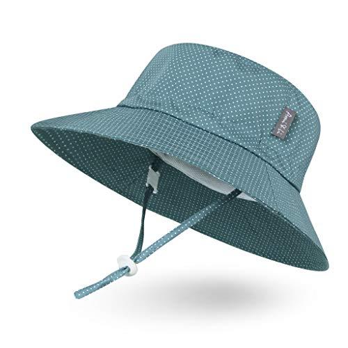 Ami & Li tots Niño Sombrero de Sol Bob Ajustable para Bebé Niña Niño Infantil Niños Pequeños Sombrero Protección Solar UPF 50 Unisexo-S:Lunares Azul grisáceo