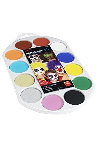Smiffys-39145 Maquillaje FX Smiffy Pallet, Aqua, pintura facial y de cuerpo, 12 colores, inclu, multicolor, No es applicable (Smiffy's 39145) , color/modelo surtido