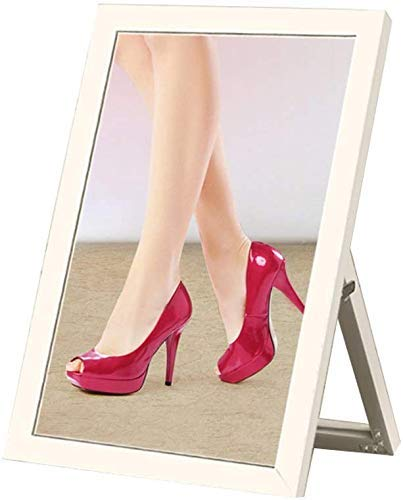 JKCKHA El Uso de Zapatos Soporte de Suelo Espejo Borde Plateado Espejo Tienda de Ropa de Zapatos Espejo (Color: Blanco)