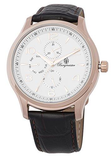 Burgmeister heren datum klassiek kwarts horloge met lederen armband BMT04-385