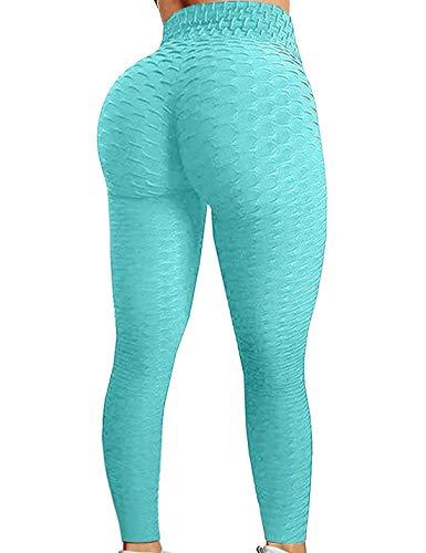 Bnigung Women's TikTok High Waist Yoga Pants Workout Butt Lifting Leggings Textured Booty Tights (Mint Green, XX-Large)