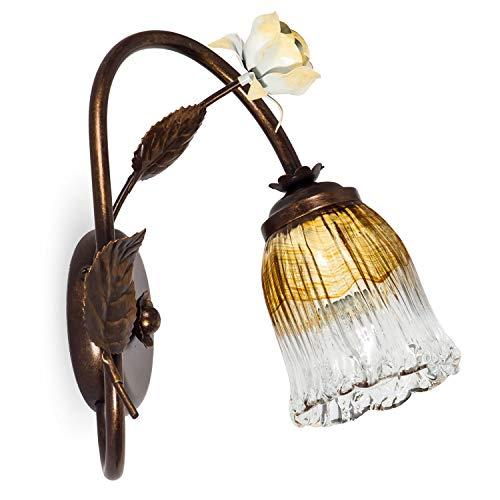 Helios Leuchten 303755/1 Florentiner Wandleuchte Wandlampe | Blüten chabby chic | Florale Lampe Leuchte Kronleuchter Landhausstil | 1 x E14