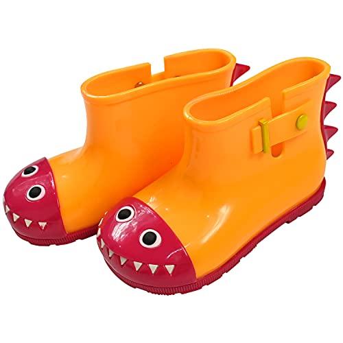 子供用 レインブーツ 男の子 15cm〜17cm 怪獣 長靴 ショートブーツ 雨具 3color (イエローSサイズ)