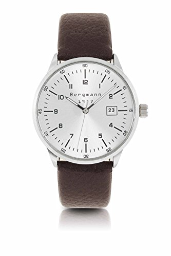 Original Bergmann-Uhr 1957 Datum Klassiker Quarz Leder Reptil Quarzuhr Edelstahlboden Bauhaus...