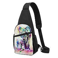 エレファント カラフル ボディバッグ 斜めがけバッグ 男女兼用 チェストバッグ ショルダーバッグ 肩掛けバッグ 軽量 通勤通学 大容量 旅行 IPadmini収納可能