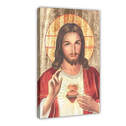Sacred Heart Jesus Christ Custom Print Pictures 16 Canvas Poster Bedroom Decor Sports Landscape Office Room Decor Gift Frame-style116×24inch(40×60cm)