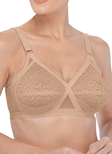 Valmont Lace Soft-Cup Crossover Bra Beige 36DD