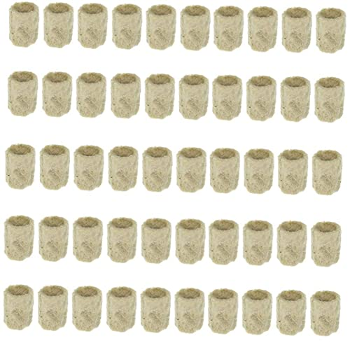Rockwool Cubo de propagaci¨®n hidrop¨®nica Hortalizas bloque cil¨ªndrico de semillero invernaderos Cultivo Sistema de jardiner¨ªa Accesorios 50PCS lana de roca de arranque enchufes