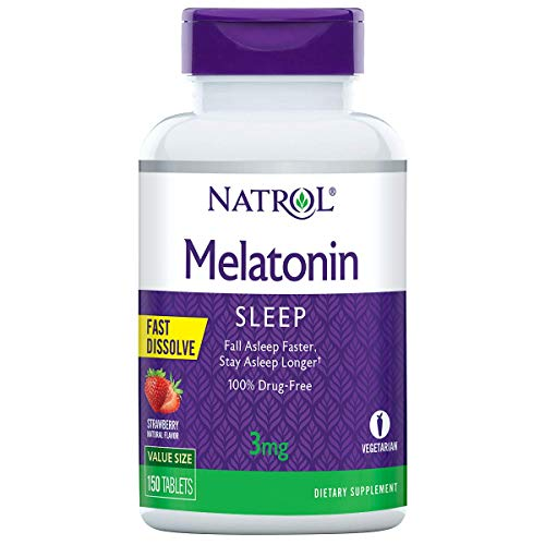 Natrol Melatonin Fast Dissolve Tablets, Helps You Fall Asleep Faster, Stay Asleep Longer, Easy to Take, Dissolves in Mouth, Strengthen Immune System, 3mg, 150 Count
