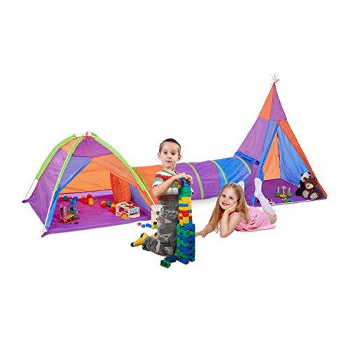 Relaxdays 10022466 Set Tende Gioco con Tunnel per Bambini 3 pz Grande da Interno ed Esterno Tenda Villaggio XL HxLxP 145 x 335 x 120 cm Colorato