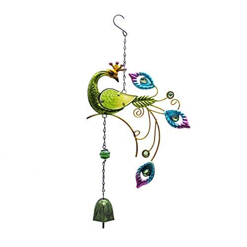 SUNERLORY Wind Glockenspiel Balkon Zubehör Home Anhänger Outdoor Geburtstagsgeschenk Garten Handwerk Auto Innenhof Ornament Tür hängen Handwerk gemalt Pfau(Grün)