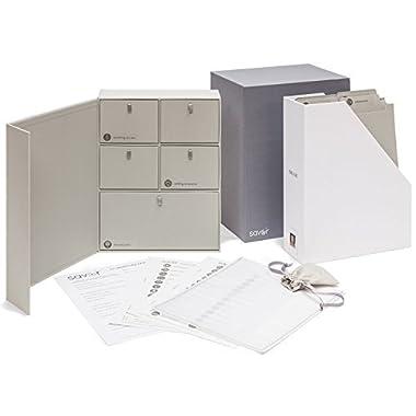 Savor Wedding Keepsake Box-Engagement Keepsakes Box-Personalized Memory Box-Registry Gift-Bridal Keepsake Organizer with Labels - Handmade - Acid-Free - Customizable-Cloth Archival Organizer (Gray)