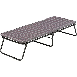 Folding camping cot offers bed-like comfort for a restful night's sleep Provides superior support with coil suspension system and thick foam mattress Durable steel frame can support up to 275 pounds and accommodate most people up to 5 feet 7 inches t...