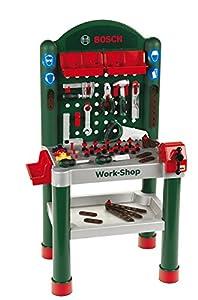 Theo Klein 8320 Taller Bosch, Superficie de trabajo de 79 piezas con función de aprendizaje, Medidas: 50 cm 37 cm 102 cm, Juguete para niños a partir de 3 años
