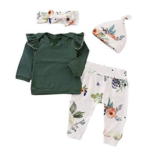 SUCES SUCES Baby Kleidung Set Neugeborene Drucken Bequem Strampler Mädchen Blumendruck 4 STÜCKE Top Hosen Cap Stirnband Kleinkind Rüschen Outfits für 6-24M