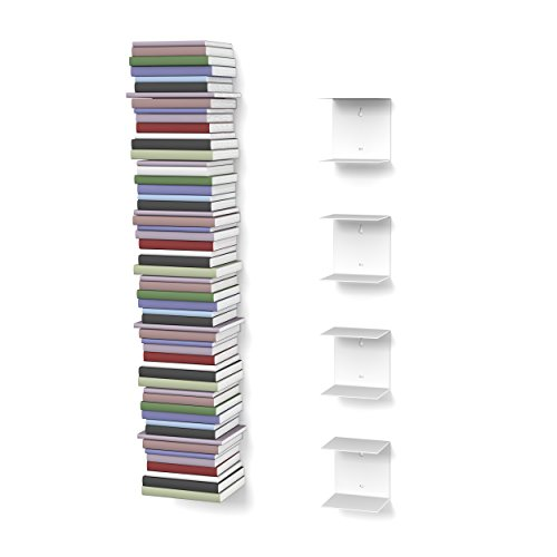 home3000 4 Mensole libreria, invisibili, colore: Bianco, con 8 scomparti, altezza:fino a 200 cm, per mettere i libri in pila, per libri con profondità fino a 22 cm