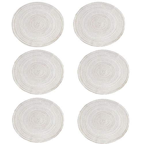 A/A Platzsets(6er Set), rutschfest Abwaschbar Tischsets, Abgrifffeste Hitzebeständig Platzdeckchen, Schmutzabweisend und Waschbare, Platz-Matten für Küche Speisetisch, 18cm