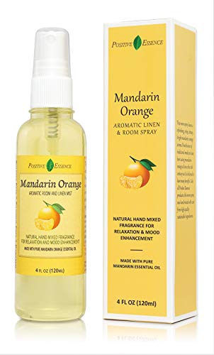Positive Essence Mandarin Orange Linen and Room Spray, Natural Aromatic Mist Made with Pure Mandarin Essential Oil, Relax Your Body \u0026amp; Mind, Perfect as a Bathroom Air Freshener Odor Eliminator