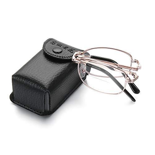 skonhedy Tragbarer 1 Paare von Compact Folding Lesebrille mit Glas-Kasten für Mode für Männer und Frauen Fernsicht-Brille (Stärke 2,50)