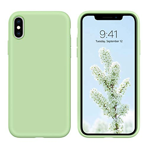 iPhone X Case,iPhone Xs Case, DUEDUE Liquid Silicone Soft Gel Rubber Slim Cover with Microfiber Cloth Lining Cushion Shockproof Full Body Protective Case for iPhone X/iPhone Xs, Matcha Green