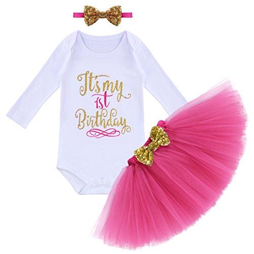 Disfraz de primer cumpleaos para beb, de manga larga, con estampado de letras, tut, diadema, princesa, lentejuelas, lazo, falda de tul para tarta o sesin de fotos