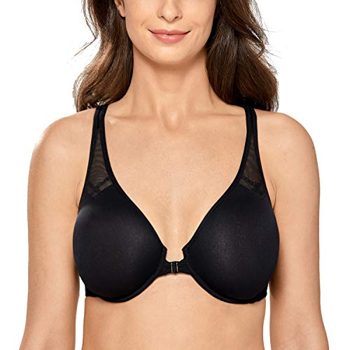 DELIMIRA Women's Unlined Racerback Bra Seamless Underwire Front Closure Bras Black 32F