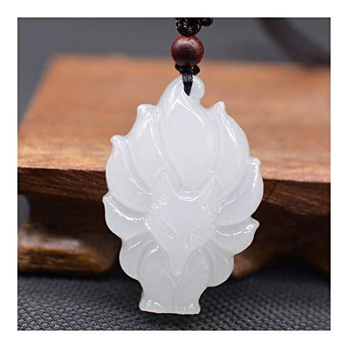 Fox Suerte Amuleto Collar Colgante De Jade Blanco Fox De XinJiang Envío De La Gota De Piedra De Jade De Nueve Colas con La Cadena For Hombres Mujeres