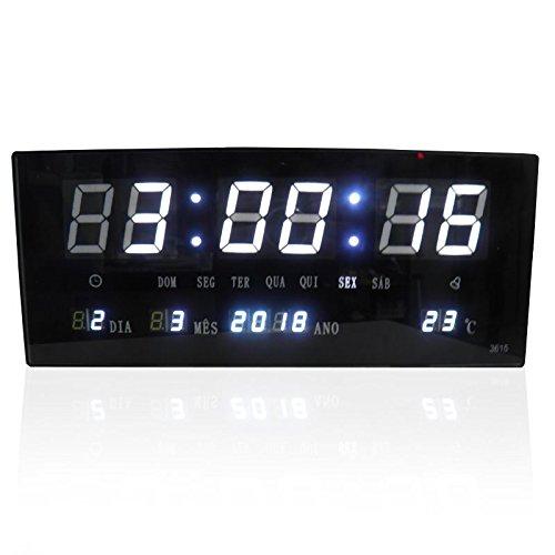Relogio Digital De Parede Alarme Com Led Branco Calendario Term (BSL-REL-57)