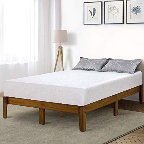 PrimaSleep 14 Inch Solid Wood Platform Bed Frame/Anti-Slip Support/No Box Spring Needed/Easy to Set, Full, Light Brown
