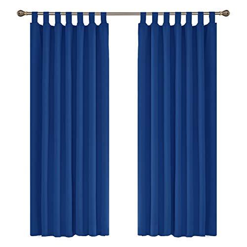 Amazon Brand - Umi Crotinas Opacas Blackout Termicas Aisantes de Salon Dormitorio Moderno con Trabillas 2 Piezas 140 x 175 cm Azul Oscuro