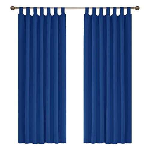 UMI. by Amazon Curtains Thermal Insulated Tab Top Blackout Curtains for Livingroom 55 x 70 Inch Royal Blue Two Panels