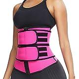 Zainafacai Waist Trainer for Women,Shapewear for Women Corset Cincher Body Shaper Sport Girdle Trimmer with Stretchable Belt (Hot Pink A, L)