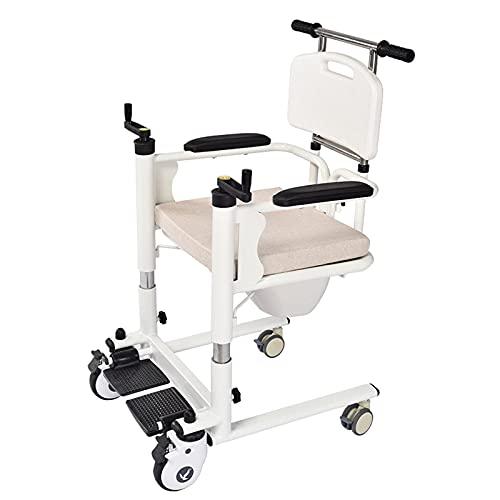 Electz Silla de baño con inodoro para personas mayores discapacitadas, enfermería para sillas de ruedas para personas mayores, asador para discapacitados, traslado de ascensor pacientes multifuncional ⭐