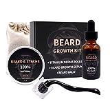 Kit de crecimiento de barba con aceite de crecimiento de barba Suero Derma Roller para hombres Crecimiento de vello facial irregular, el mejor regalo para hombres