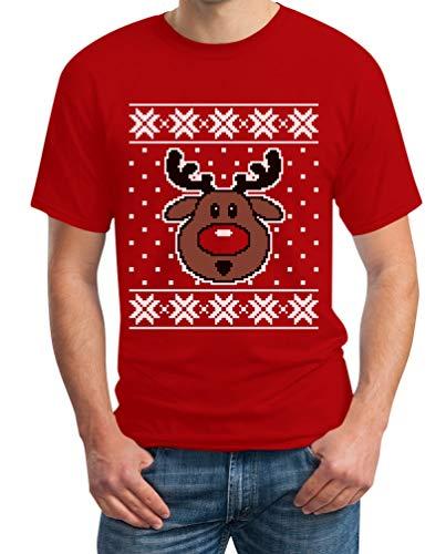 Shirtgeil Maglione Di Natale Renna Rudolph - Ugly Sweater Maglietta Da Uomo Medium Rosso