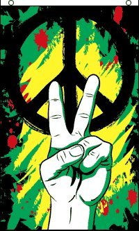 HUGE Rasta Peace Graffiti Banner Flag, 5 Feet Tall! bong cloth poster