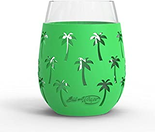 Wine Glass - 18oz Indoor and Outdoor Glass with Protective Silicone Sleeve - Set of 2 - Palm Tree