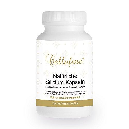Cellufine® natürliches Silizium Haarvitamin aus Bambus 75 mg I 120 Kapseln vegan I Hergestellt in Deutschland I Silizium hochdosiert bei bspw. Haarausfall I Für Haare I Haar Silicium Kapseln
