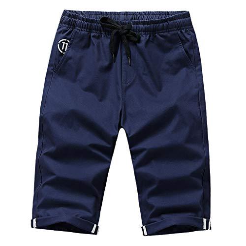 Xmiral Hosen Caprihose Herren Einfarbig Freizeithosen für Männer Chino Hose Gerade Strecken Slim Fit Training Hose Shorts(Dunkelblau,4XL)