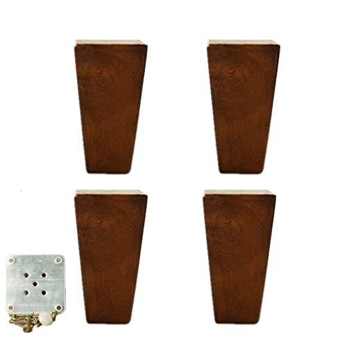 Gummi Holz Möbelfüße,Sofafüße,Eckig Schrankfüße,Bettfüße, Massivholz Möbel Stützbeine,mit Montageplatten und Schrauben, Braun,4 Stück (3.9in(10cm))