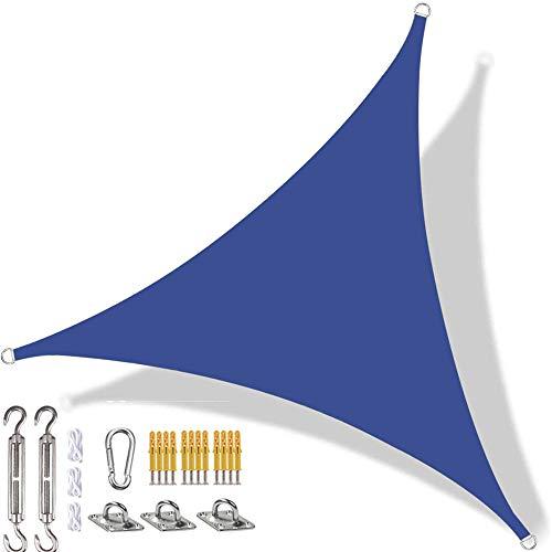 YAOYI Toldo triangular de vela con protección solar impermeable, protección UV, para exteriores, terraza, patio, con kit de fijación y cuerda (2,4 x 2,4 x 2,4 m), color azul