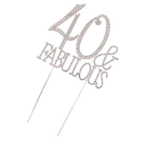 MagiDeal 40 Fabulous Topper Cake en Strass Cristaux de Luxe Décoration Anniversaire 40 Ans
